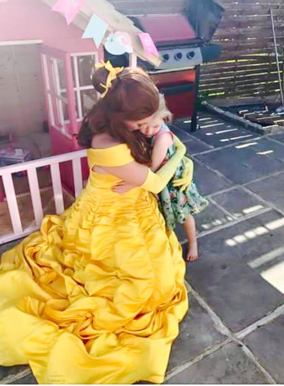 Belle hugging