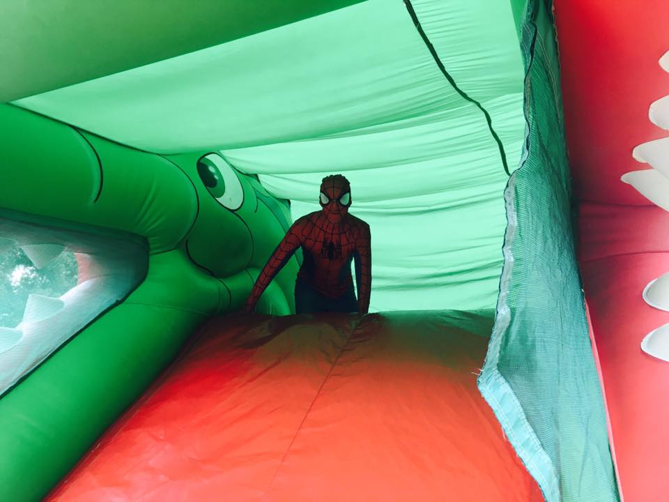 spiderman on a bouncy castle